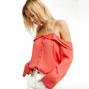 Free People Walk this Way Blouse in Coral Small